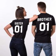 """A brother and sister wearing matching shirts that say """"Brother"""" and """"Sister."""""""