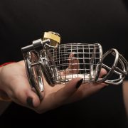 An uncomfortable looking male chastity device